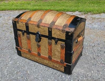 Restored Antique Victorian Dome Slat Top Steamer Trunk Stage Coach Chest 1800s