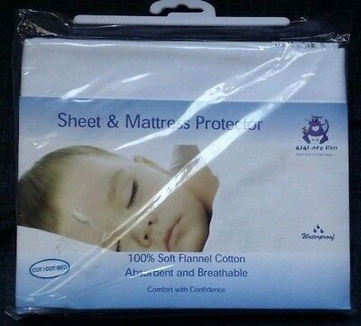 Bibs and Stuff Sheet & Mattress Protector Flannel Cotton 75x100cm Cot/Cotbed