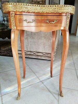 Louis XV French style side coffee end table stand marble top with marquetry