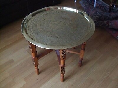 Moroccan Brass Table on Folding Base