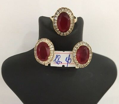 925 Sterling Silver Turkish Jewelry Ruby Ladies Earring and Ring Set