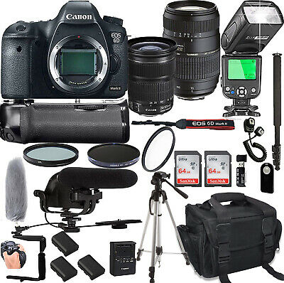 Canon EOS 6D Mark II With (2) Lenses and 24 Piece Bundle