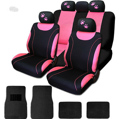 New Flat Cloth Black And Pink Car Seat Covers Mats With Paws Set For Jeep