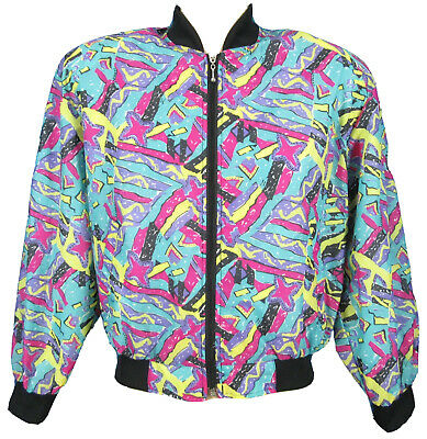 7457069e1d7 NOS vintage 90s HIP HOP WINDBREAKER ALL-OVER JACKET XS fresh prince  vaporwave