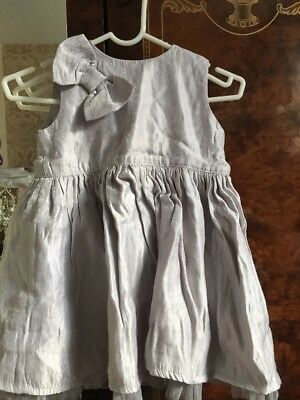 M&S Girls Party Dress 9-12 Months Grey Silver Christmas Occasion Marks Spencer