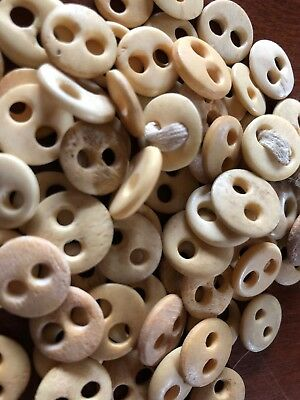 "Lot Of 70 ANTIQUE BONE BUTTONS UNDERWEAR TWO HOLE 1/2 "" Fish Eye"