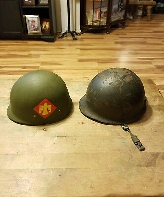 45th Infantry Division US Army helmet liner and helmet Capac WWII Korea