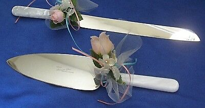 Sheffield Pearlized Wedding Cake Knife and Server Set Decorated & Ready to Go
