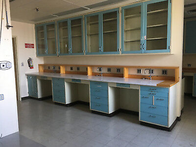 "Overhead Lab Cabinets, Blue, with Glass Sliding Doors 47""x47""x12"""