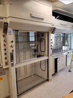 4' / 5' Walk-in  Laboratory Chemical Fume Hood W/ Curtain Sash Fisher Hamilton