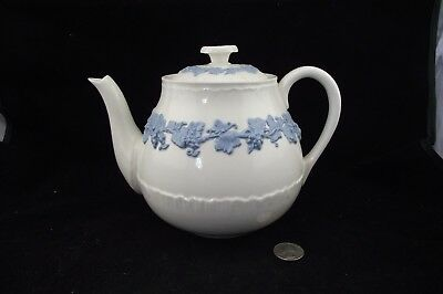 Wedgwood Blue On Cream Color Queensware  Teapot  Lid