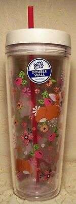 COOL GEAR Large 32 oz DOUBLE WALL INSULATED TUMBLER w RED Lid & Straw CORGI DOGS
