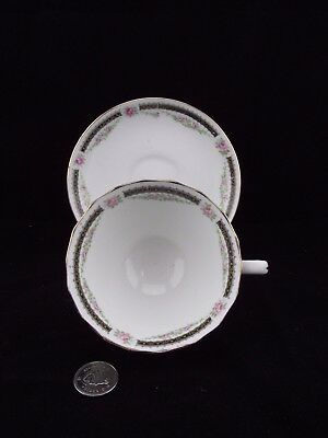 White Gold Rose Design Atlas China Grimwade Tea Cup And Saucer