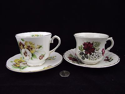 Two Cabinet Tea Cup And Saucer Floral August Duchess And Red Floral Old Foley