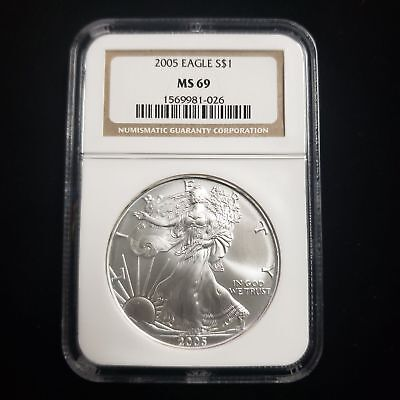 2005 American Silver Eagle $1 Dollar NGC MS69 Brown Label Collector Coin FC1026