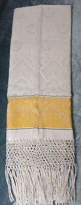 Linen Damask Fringed Show Towel Yellow & Blue Accents Made in Italy Label Unused