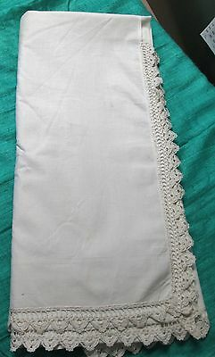 Antique Sheet Beautiful Hand Crocheted Shell Trim Never Used