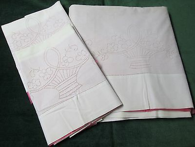 Antique Sheet & Pillow Cases Punchwork Embroidery BASKETS OF FLOWERS