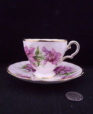 White Purple Floral And Gold Grosvenor Bone China Cabinet Cup And Saucer