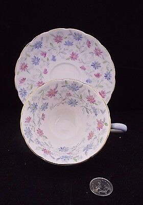 White Gold Blue And Pink Floral Grosvenor China  Cabinet Cup And Saucer