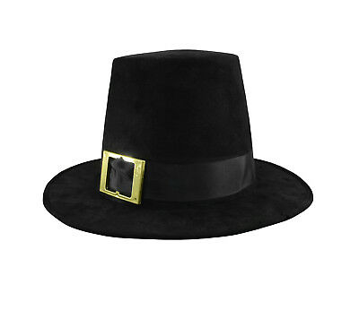 Deluxe Pilgrim Hat With Buckle Quaker Amish Top Hat Cap Flat Topped Costume