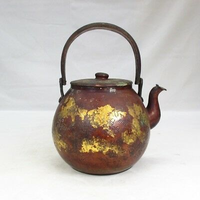 F525: Popular Japanese old copper kettle with good carving pattern and plating