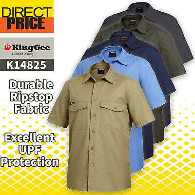 King Gee Work Shirt Ripstop Cotton WorkCool Short Sleeve K14825 5 colour NEW