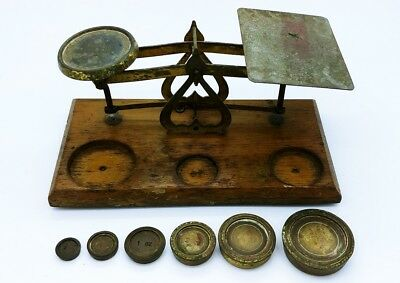 Vintage Post Office Scales &  6 Weights Made in England