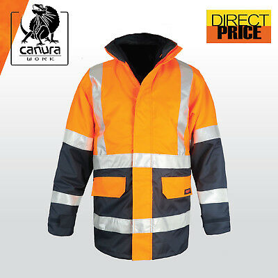 Hi Vis Rain Jacket Work Reflective Tape NEW Safety Wear Rain Proof Wind Proof