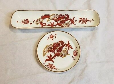 VTG Pair Rangoon Crown Staffordshire England Fine Bone China Chinese Dragon