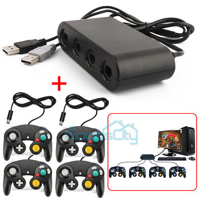 4 Port Gamecube Controller Adapter w/ Game Controller For Nintendo Wii U PC USB