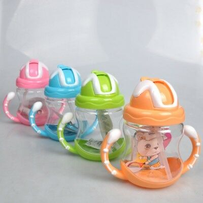 320ml Baby Toddler Drinking Sippy Cup Water Bottle No Leak With Straw Two Handle