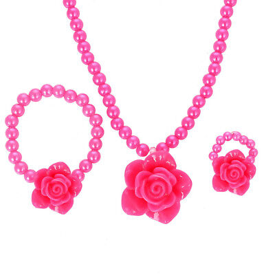 Floral Baby Toddler Girls' Necklace, Bracelet & Ring Bead Set for Parties