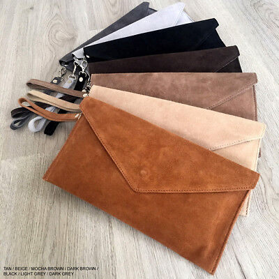 Tan Wedding Clutch Bag Evening Bag Over Size Envelope Suede Prom Made in Italy