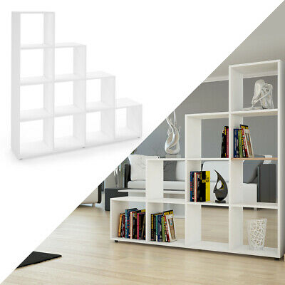 Vicco Stair shape shelf Asym Room divider Bookcase Wall 4 compartments sonoma