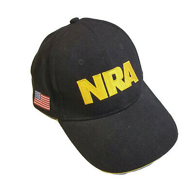 NRA National Rifle Association Black Hat Baseball Cap USA Flag Gun  Structured S1 b4e4545b93f7