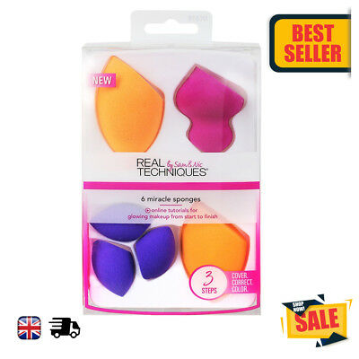 Real Techniques Samantha Chapman Pack 6 x Miracle Sponges Make up Sponges NEW UK