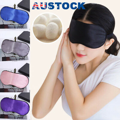 100% Pure Silk Sleeping Sleep Soft Eye Mask Blindfold Lights Out Travel Relax AU