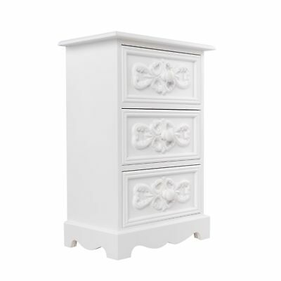 Dresser Small Cabinet 3 Drawers White Antique Jewelry Chest of Cottage Rosali