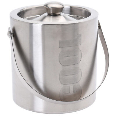 "Large Double Walled Stainless Steel Insulated Ice Bucket ""Cool"" With Lid 1.5 Ltr"