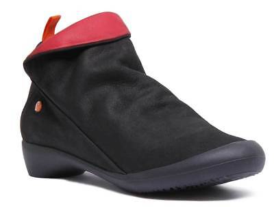 Softinos Farah Womens Black Red Soft Leather Shoes