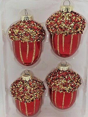 New Collectibles Holiday Time 4 Acorn Glass Christmas Tree Ornaments