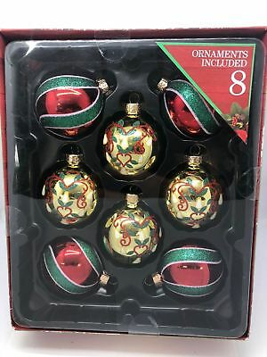 New Collectibles Holiday Time 8 Glitter Glass Christmas Tree Ornaments