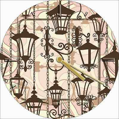 NOVELTY WALL CLOCK - Antique Victorian Lanterns Design - Retro Wall Clock