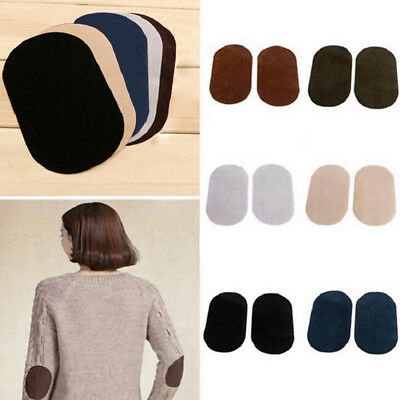 2Pcs Suede Leather Iron-on Oval Elbow Knee Patches Applique DIY Repair Sewing