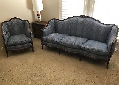 Antique French Louis XV Provincial curved sofa settee & chair set