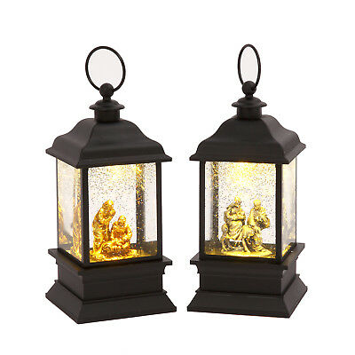 Set Of Christmas Nativity Scene Spinning Water Snow Globe Lanterns With Timer