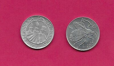 San Marino Rep 10 Lire 1974 Unc Bee,f.a.o,ostrich Feathers & Towers Within Circl