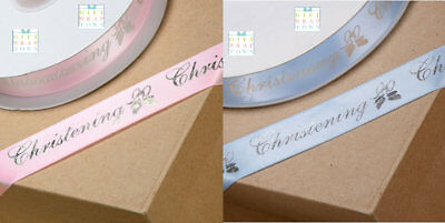 Christening Ribbon Blue/Pink 20Mm Price Per Metre Silver Lettering