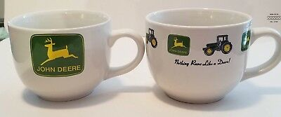 2 John Deere Tractor Large Soup Chili Bowl Coffee Mug Cup x 2 Gibson Collectible